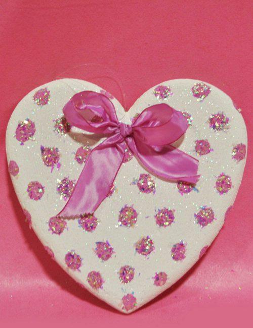 Cuore bianco pois rosa feste compleanno bambini
