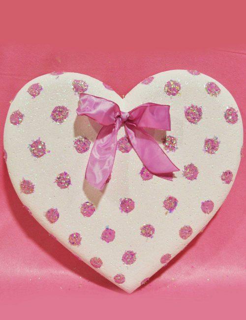 Cuore bianco pois rosa decorazione compleanni