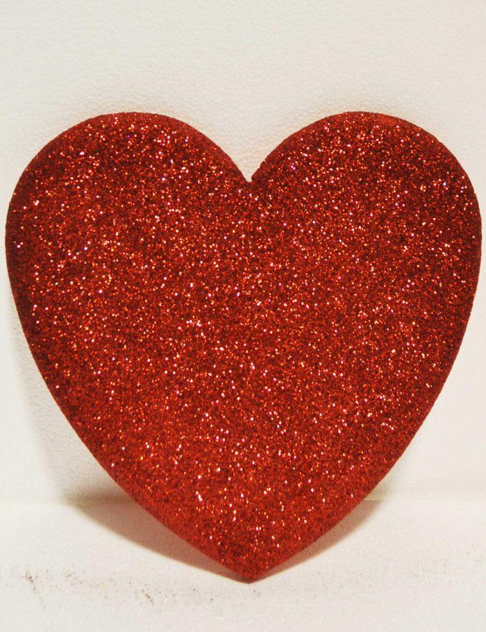 cuore rosso polistirolo glitter decorazione vetrine negozi
