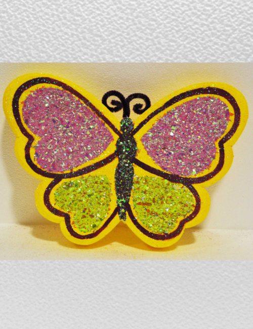 farfalla gialla piccola decorazione vetrine negozi