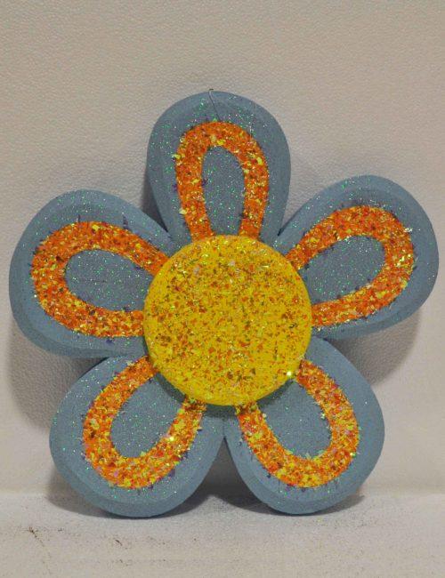 decorazione polistirolo fiore azzurro vetrine negozi