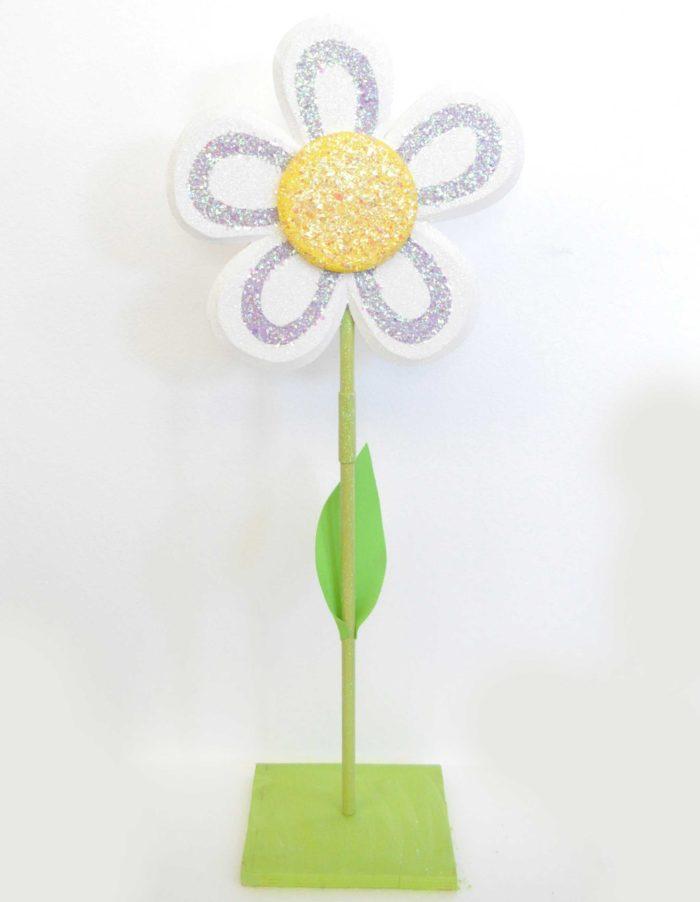 fiore bianco con stelo polistirolo decorazione vetrine