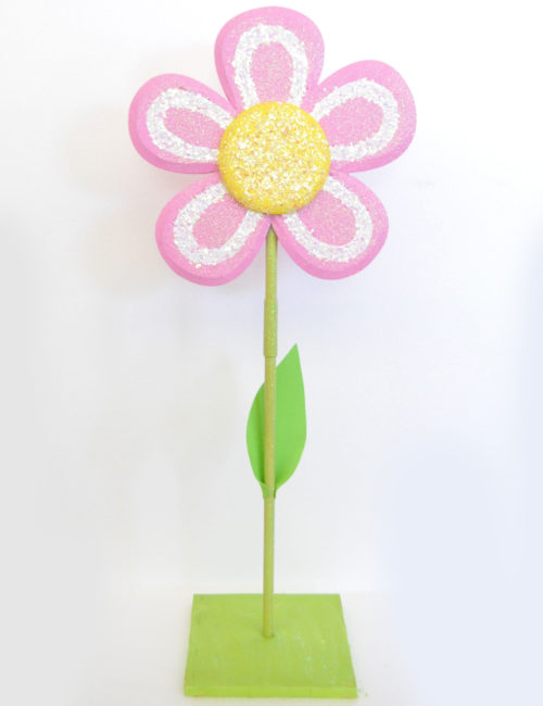 fiore rosa con stelo decorazione primavera pasqua vetrine negozi
