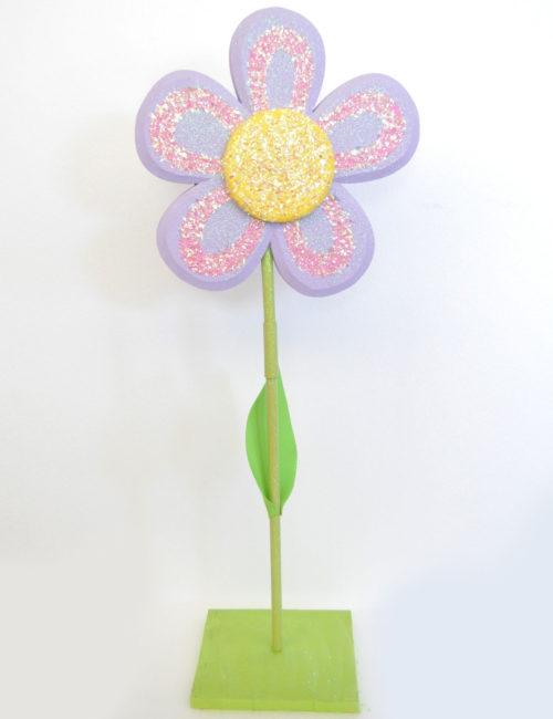 fiore viola con stelo polistirolo decorazione vetrine primavera