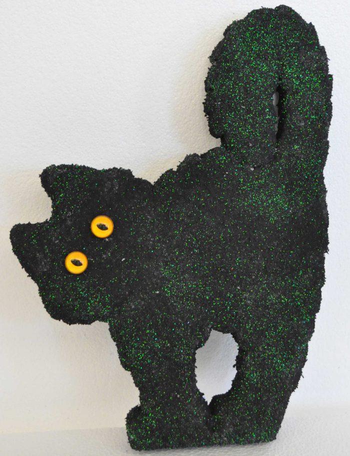 gatto nero decorazione polistirolo glitter vetrine negozi halloween