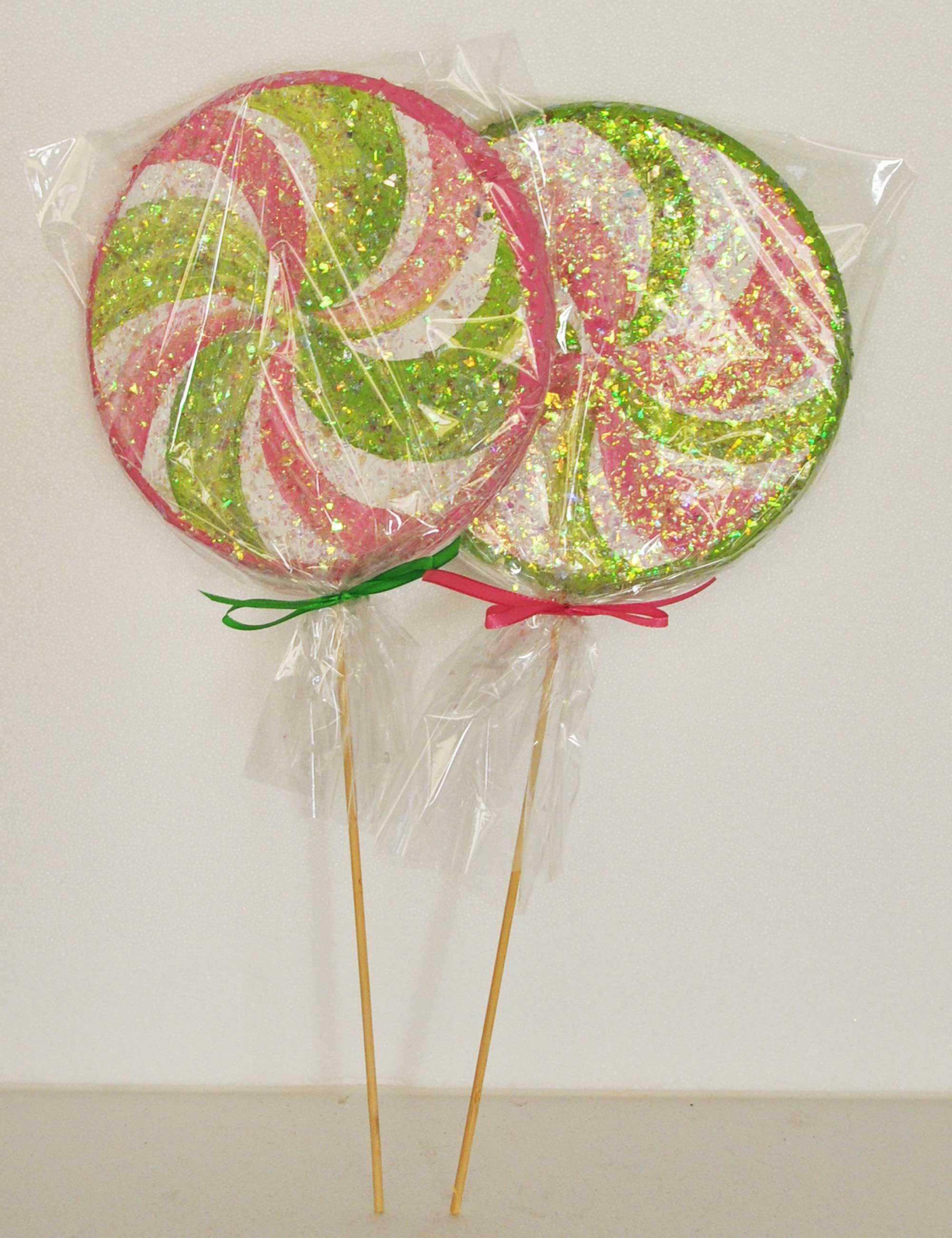 Kit 2 Lecca lecca rosa verde diametro 25cm polistirolo colorato e glitter