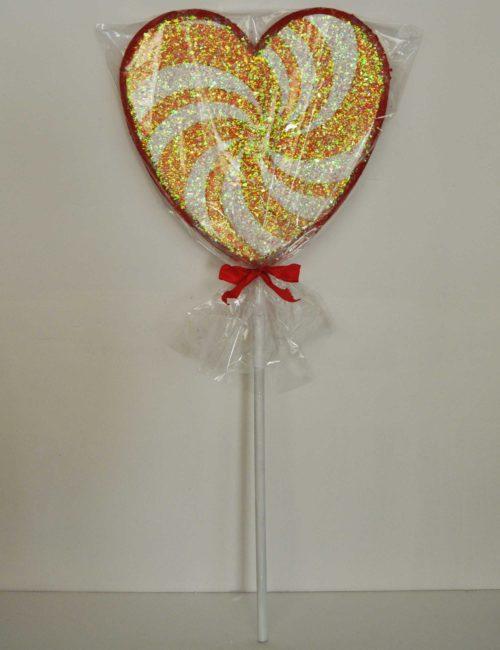 lecca lecca cuore rosso 40cm polistirolo colorato glitterato vetrine negozi