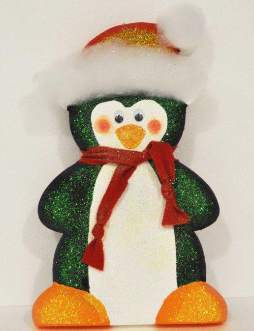Pinguino altezza 50cm polistirolo colorato glitter decorazione vetrine Natale