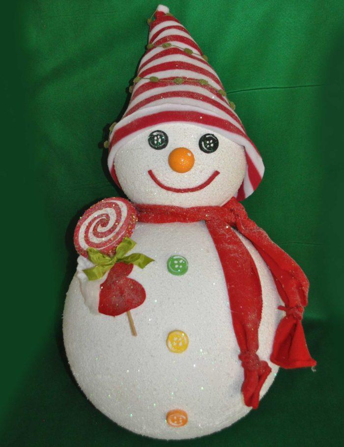 pupazzo di neve 3D altezza 100 cm polistirolo colorato e finta neve decorazione natale vetrine negozi