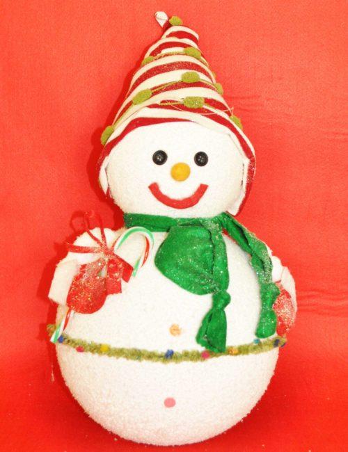 pupazzo neve 3D altezza 50cm polistirolo colorato innevato decorazione natale negozi