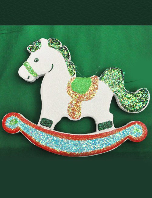 cavallino bianco a dondolo in polistirolo baby party
